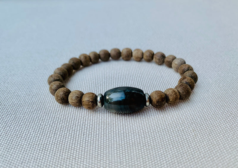 Kids gray wood & barrel jasper diffuser bracelet