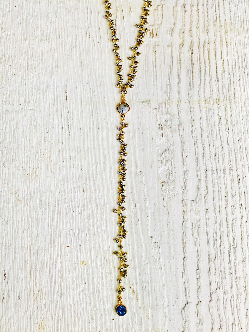 Pyrite Cluster with Blue Druzy Rosary Necklace