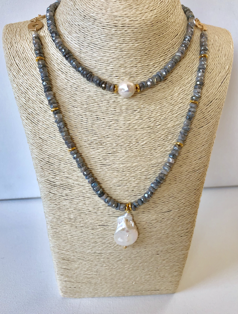 Mystic Labradorite & Baroque Pearl Pendant combined with Matching Choker