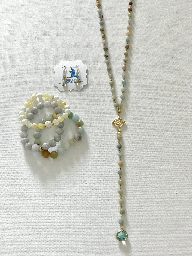 Amazonite Y necklace/bracelet/earring set