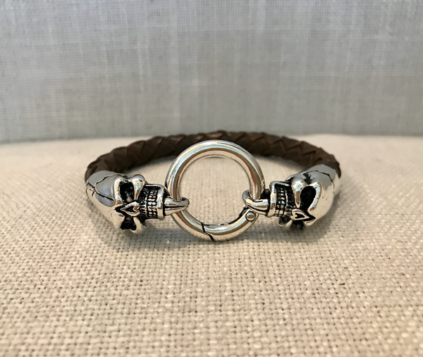 Men's antique brown leather bracelet