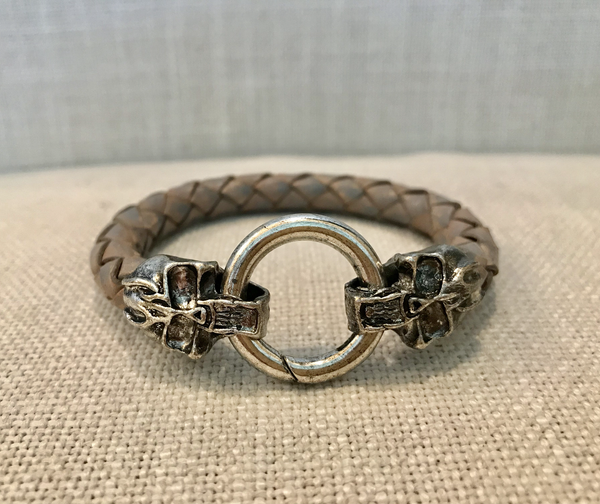 Men's distressed gray leather bracelet