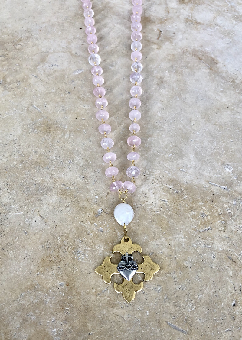 Religious Medallion with Rose Quartz Stones