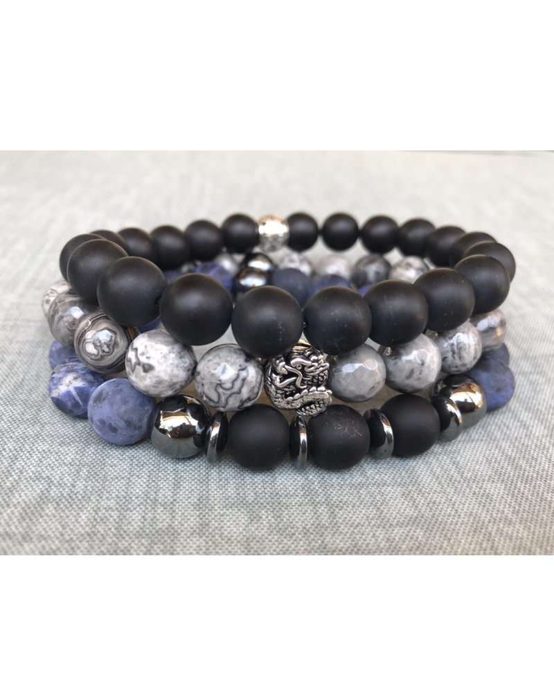 Black, gray, and blue men's stack