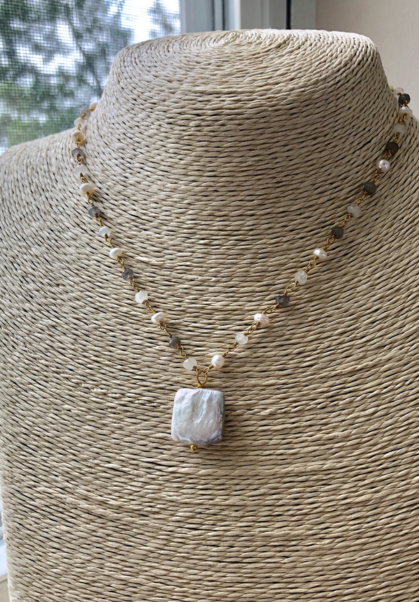 Square Pearl and Rosary Chain