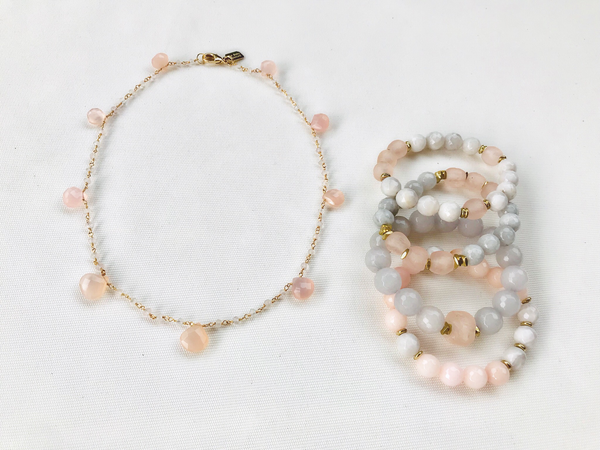 Rose quartz briolette necklace with bracelet stack