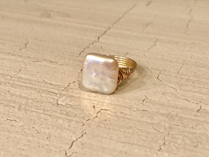 Wire wrapped square pearl ring