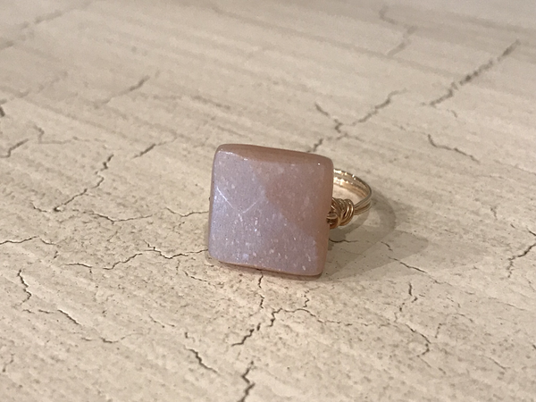 Wire wrapped sunstone ring