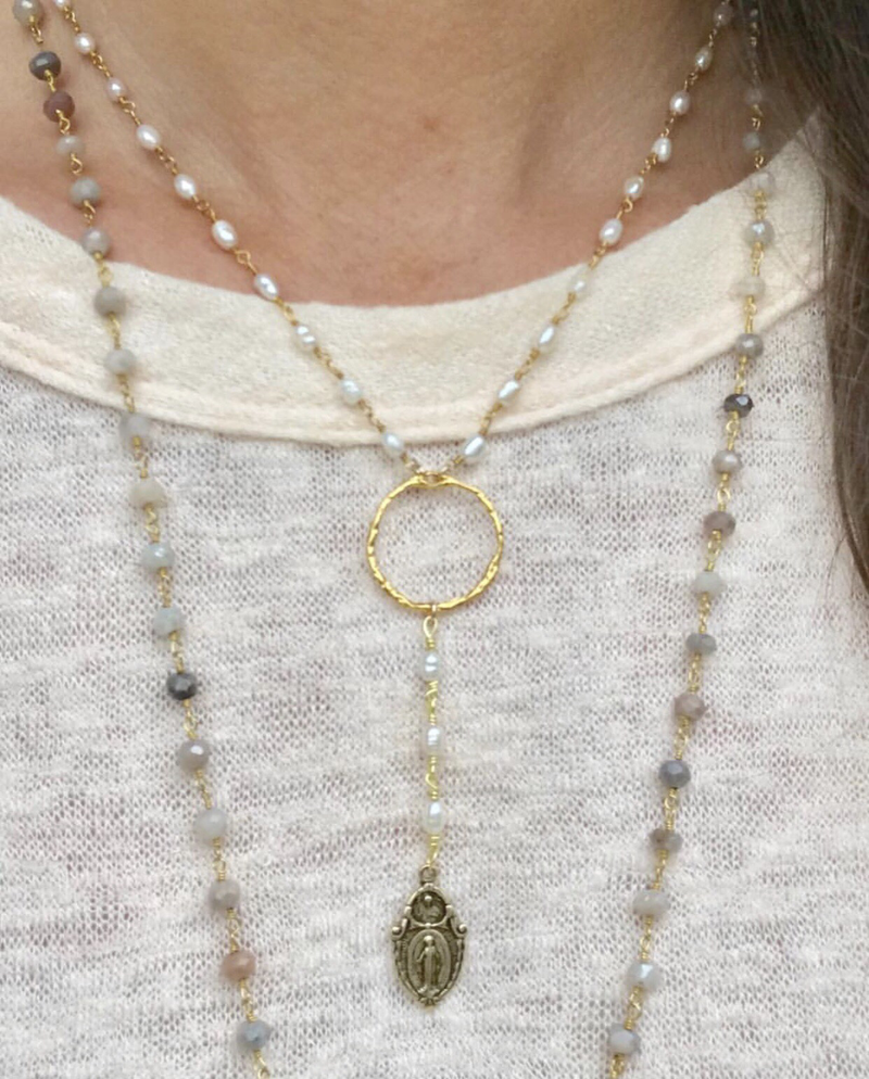Pearl Y necklace w/mother Mary