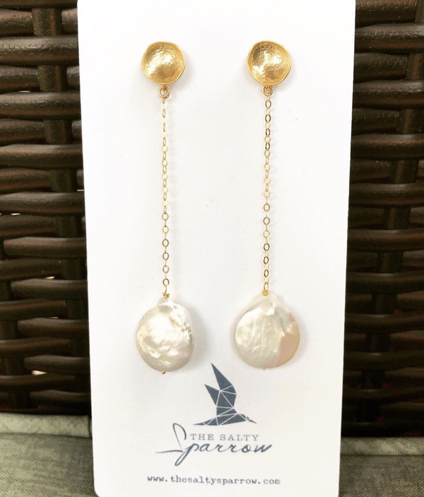 Cream coin pearl drop earrings