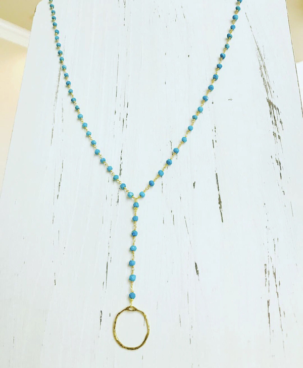 Turquoise Y necklace with circle pendant