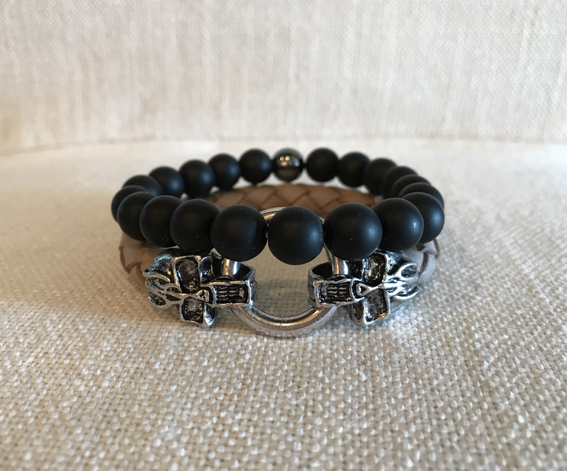 Men's leather and onyx stack