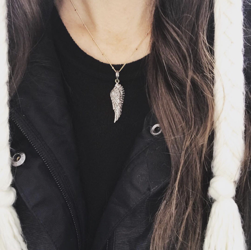 Pave diamond angel wing necklace