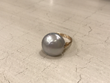 Wire wrapped coin pearl ring