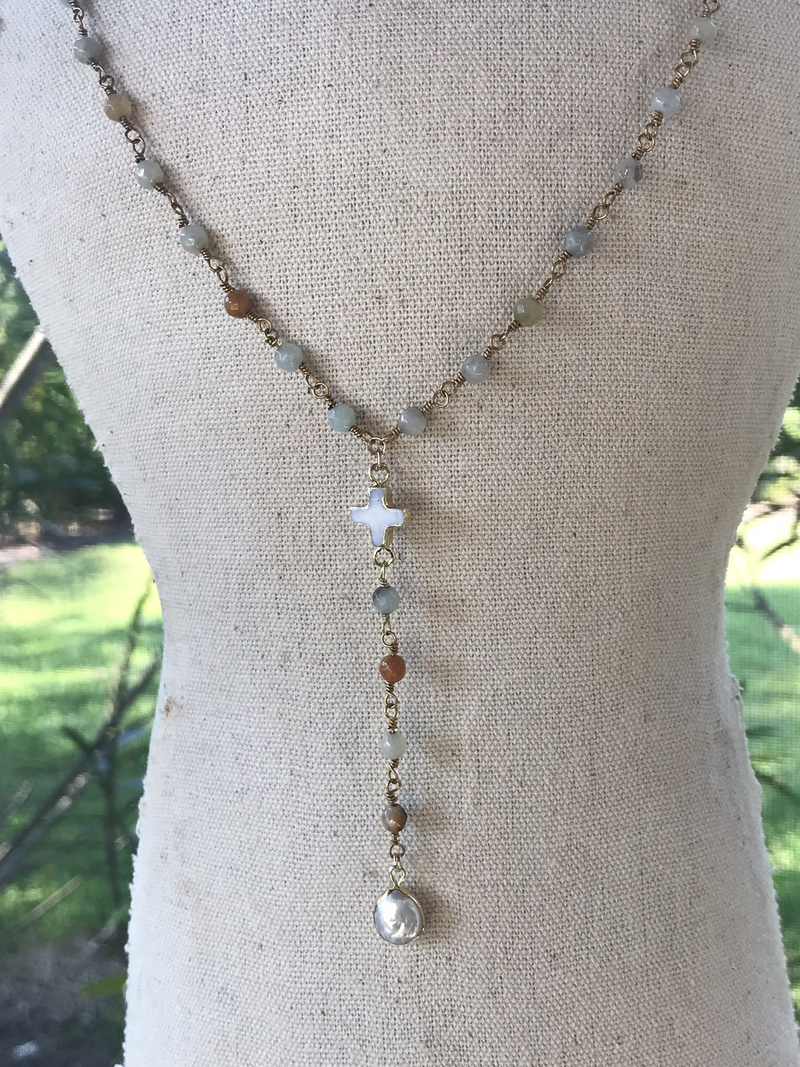 Amazonite necklace with mother-of-pearl cross, and button pearl pendant