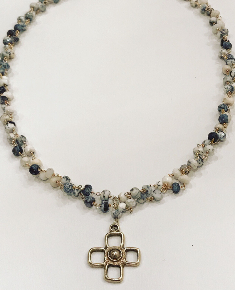 Dendrite opal/cross necklace