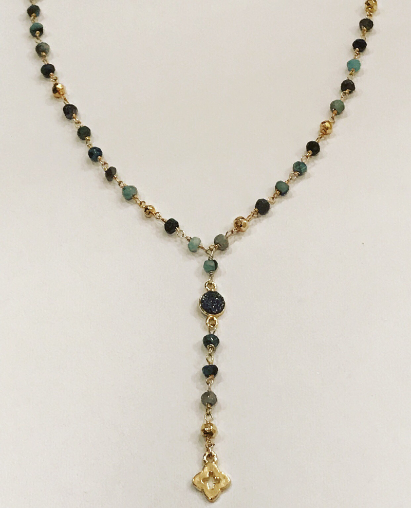 Emerald necklace with black druzy
