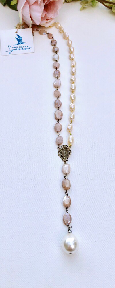 Silver Peach Moonstones & Pearls