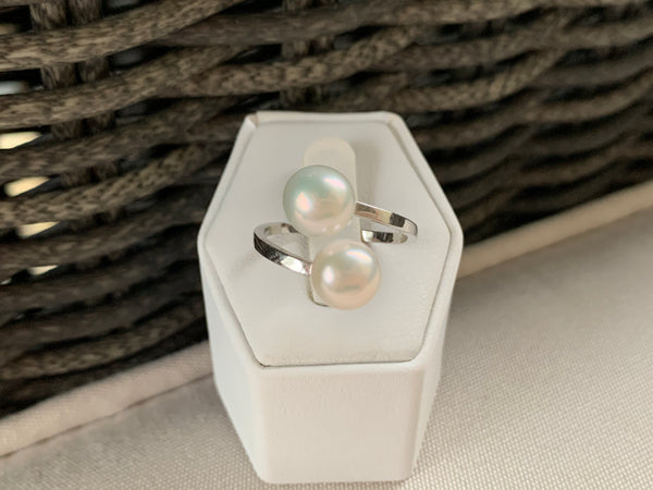 Ivory White Double Pearl Ring (Sterling Silver