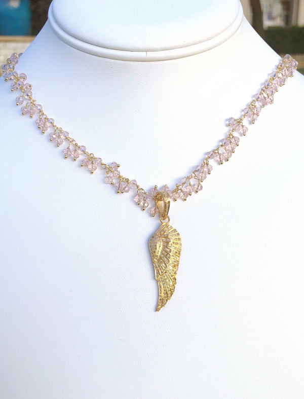 Pave Diamond Gold Vermeil Diamond Wing and Rose Quartz Stones