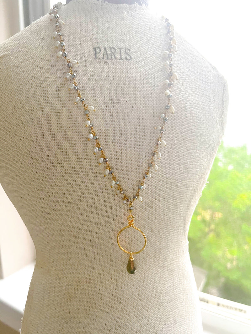 Pyrite & Pearl Dangle Necklace