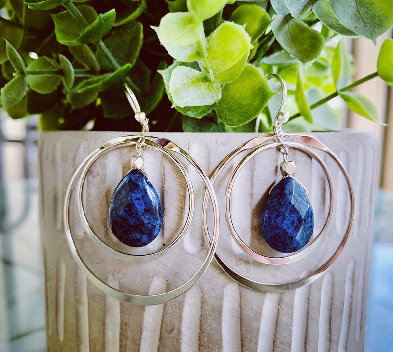 Dumortierite /silver hoop earrings
