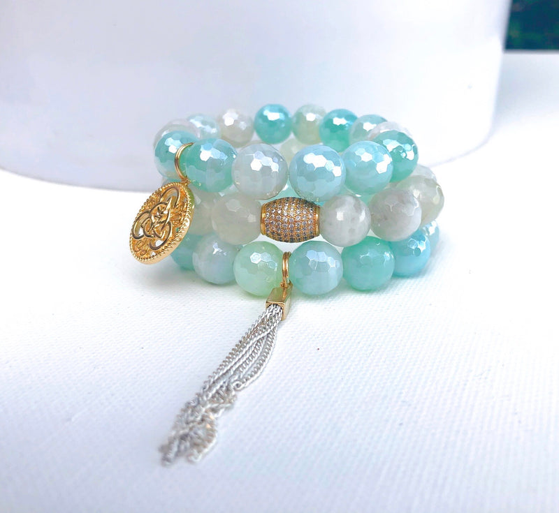Clear Teal Waters Bracelet Set