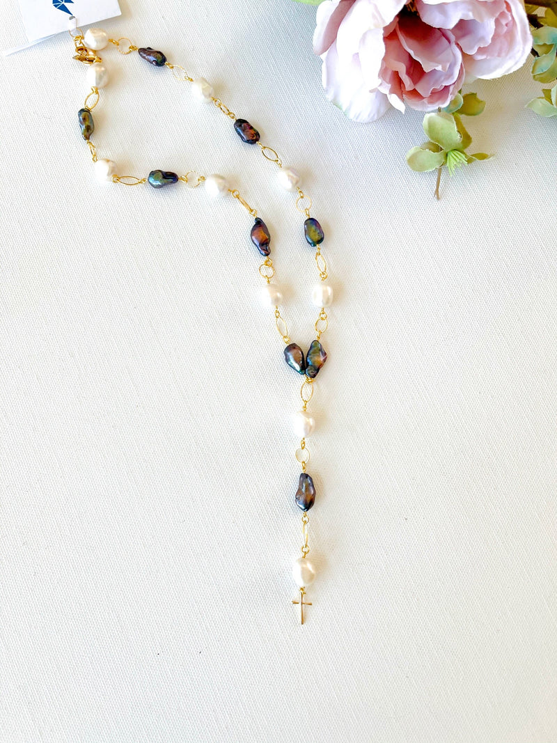 Multi White & Peacock Pearls with Dainty Cross