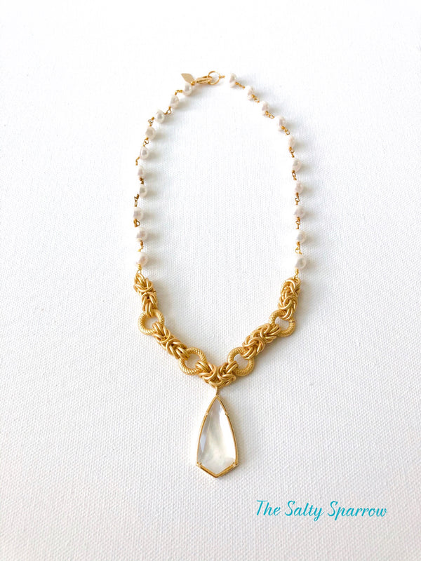 Kite Mother of Pearl Pendant with Gold Filled Chain and Freshwater Pearl Rosary Chain