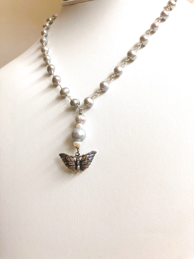 Sterling silver butterfly with silver pearls