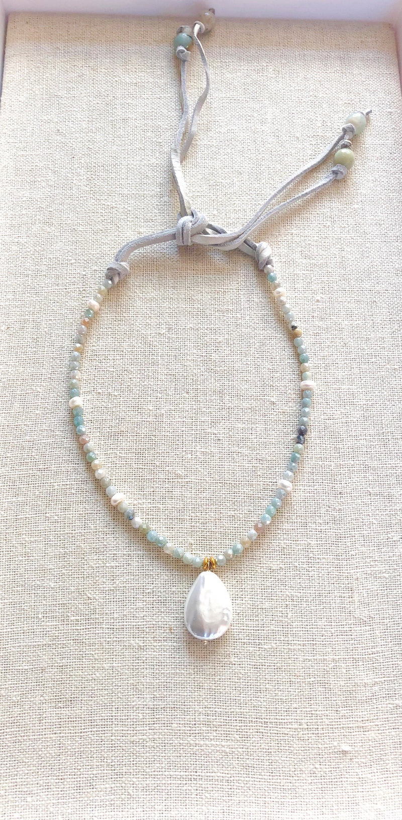 Shimmering Teardrop Pearl Pendant with Special coated Amazonite stones