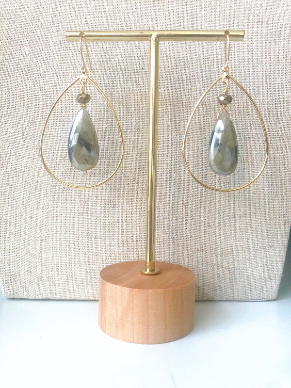 Gray/Blue Teardrop Silverite Earrings