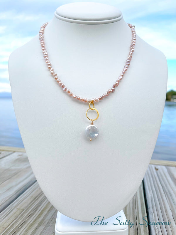 Petite Mauve Pearls and Coin Pearl Pendant