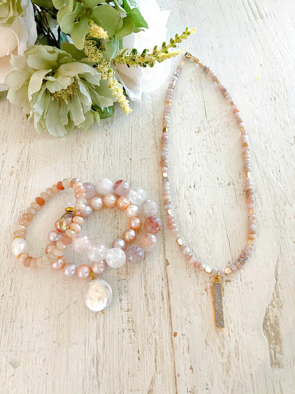 Blush Faceted Moonstones and Dark Neutral Druzy Pendant