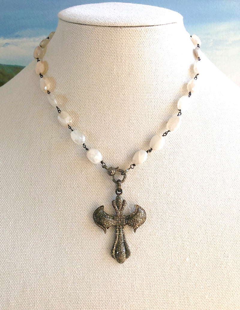 Pave Diamond Angel Cross with Silverite Stones