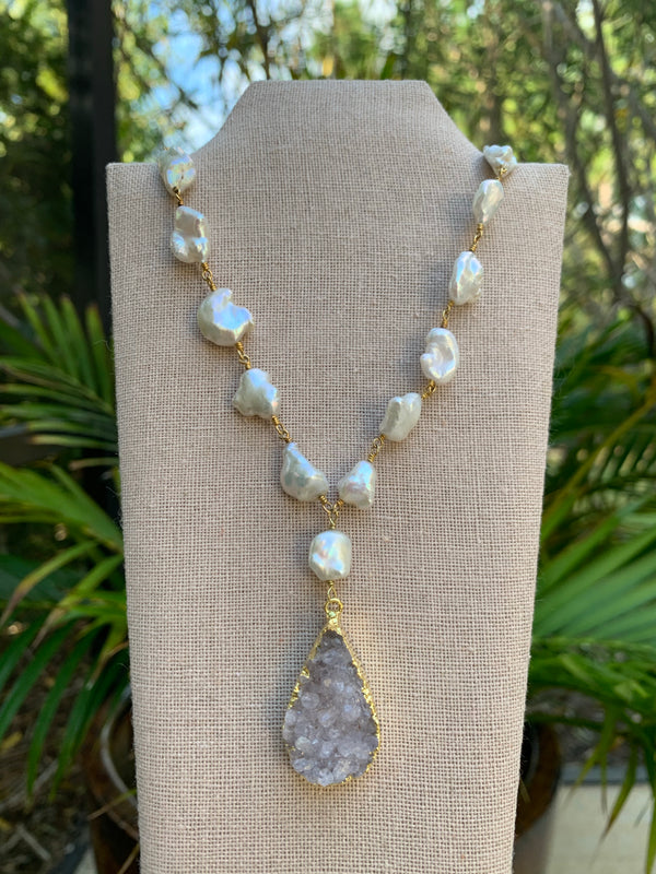 Baroque pearl and druzy necklace