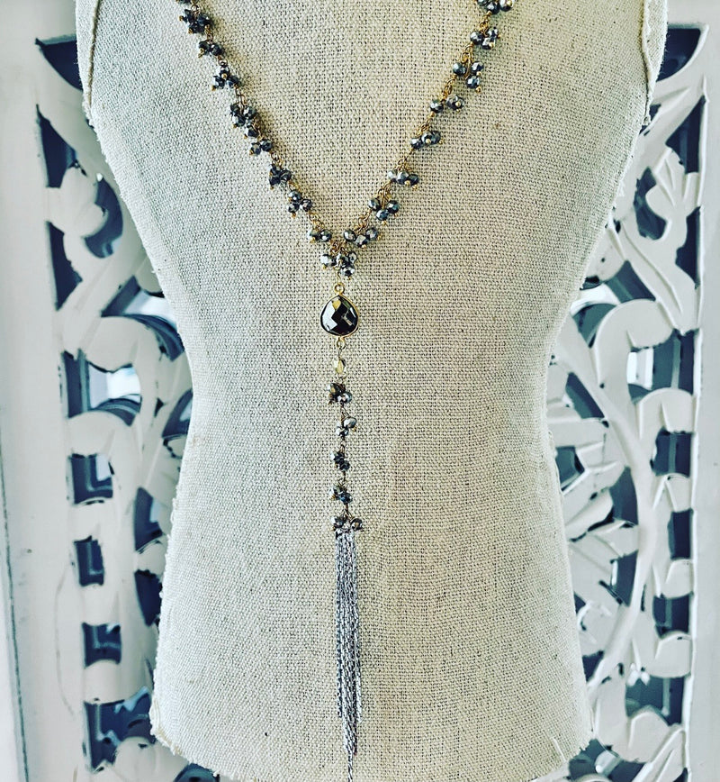 Multi pyrite Y necklace with tassel