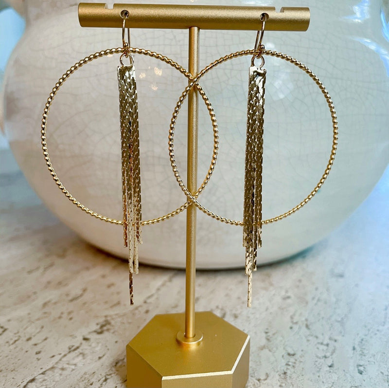 The Abby tassel hoop earring