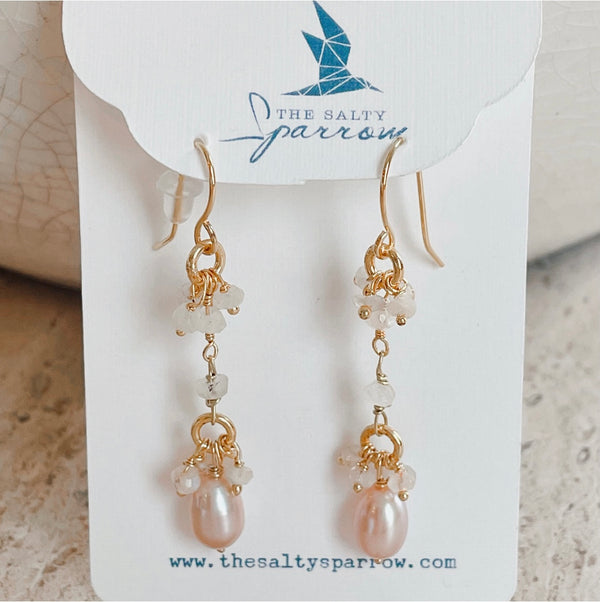 Blush pearl & agate cluster drop earrings