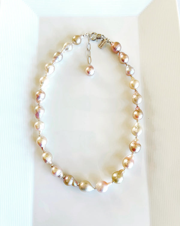 Mauve & Pink Baroque Pearl Necklace