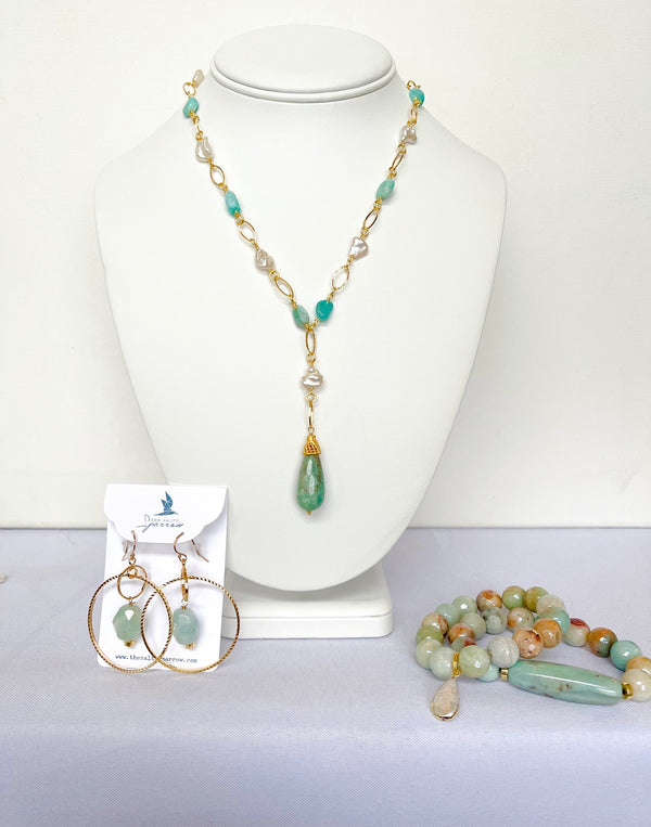 Amazonite & Pearl Beach Set