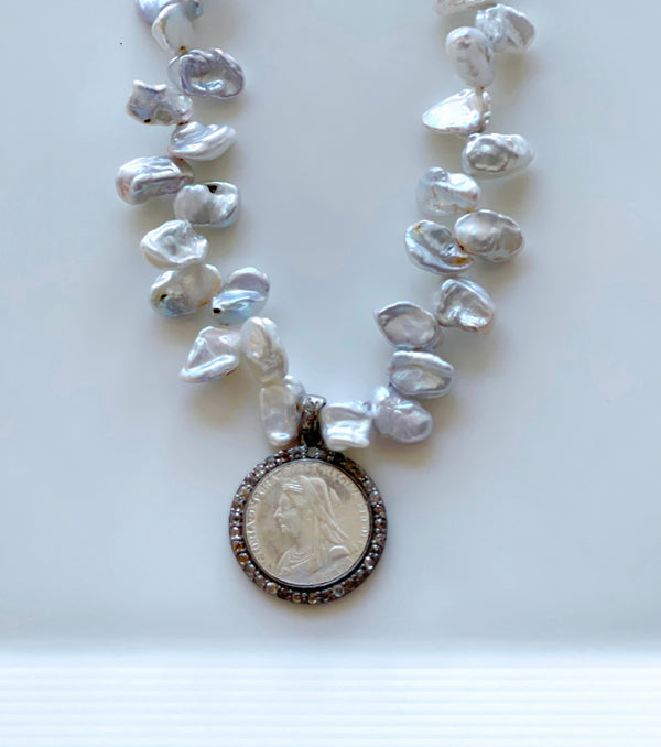 Victoria Queen Pace Diamond Coin Pendant and Keishi Pearls