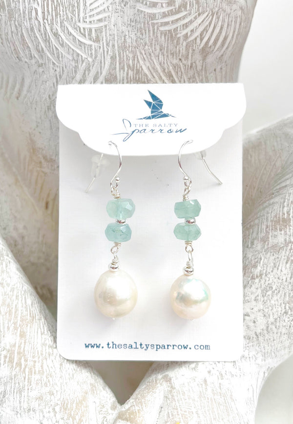 Baroque Pearl and Faceted Aquamarine Stone Earrings