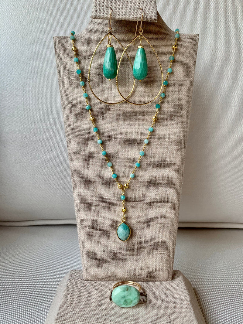 Amazonite jewelry set