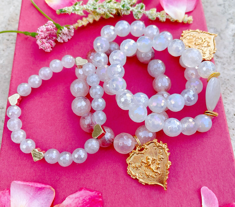 Strawberry Quartz or Silverite Stones with Romantic Heart (You Choose)