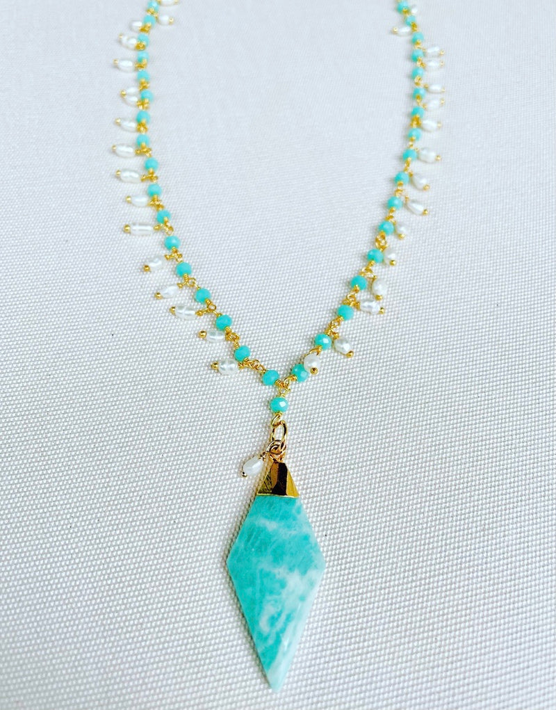Amazonite and pearl dangle necklace