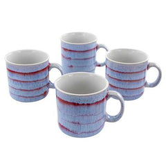 Meritage Blurry II 4 Piece 19 Ounce Round Stoneware Mug Set in Red