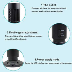 5V 2.5W Mini Portable USB Cooling Air Conditioner Purifier Tower Bladeless Desk Fan