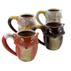 Gibson Home Figural Fox 4 Piece 18 Ounce Stoneware Mug Set in Assorted Colors