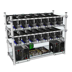 Open Air Mining Frame Rig 14 GPU Stackable Case With 12 LED Fans For ETH ZCash